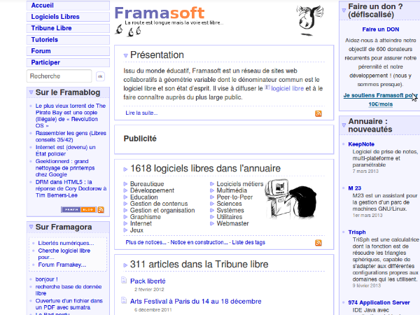 Framasoft ancienne page d'accueil