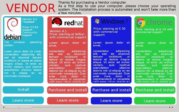 Maquette de l'écran de choix pour les OS