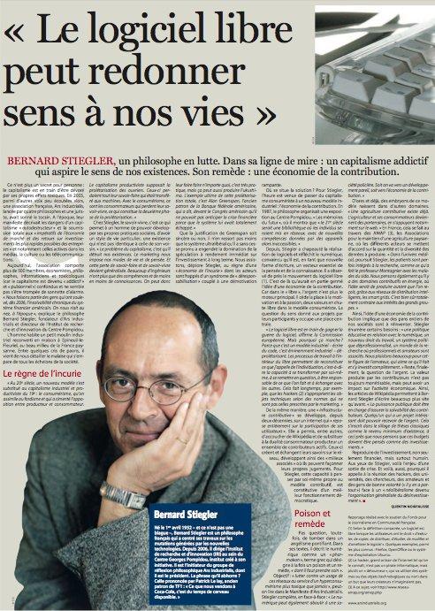Bernard Stiegler - Le Soir