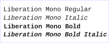 Liberation fonts Mono - Red Hat - GPLv2