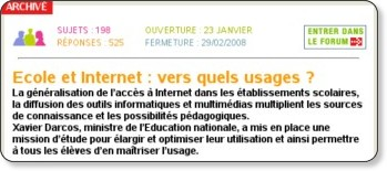 Copie d'écran - Mission E-educ - - Forum - Gouv.fr