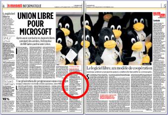 Libération 4 novembre 2006 Logiciel Libre