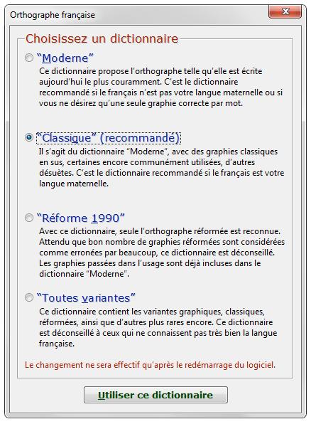 4 dictionnaires orthographiques proposés