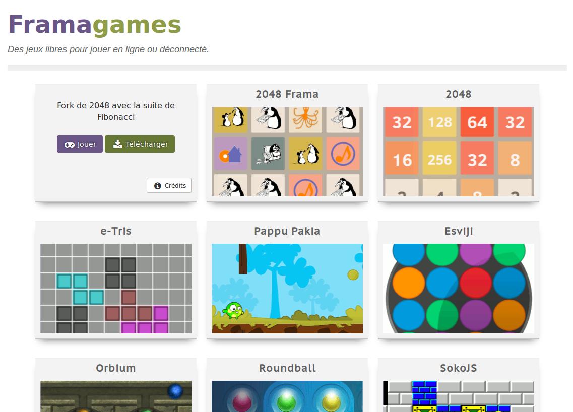 Capture d'écran du site Framagames