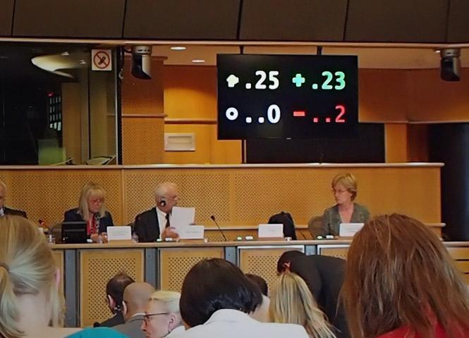 photo provenant du blog de Julia Reda, vote final de la commission JURI