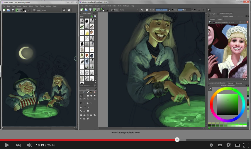 Vidéo « Painting Terry Pratchett cover in Krita »