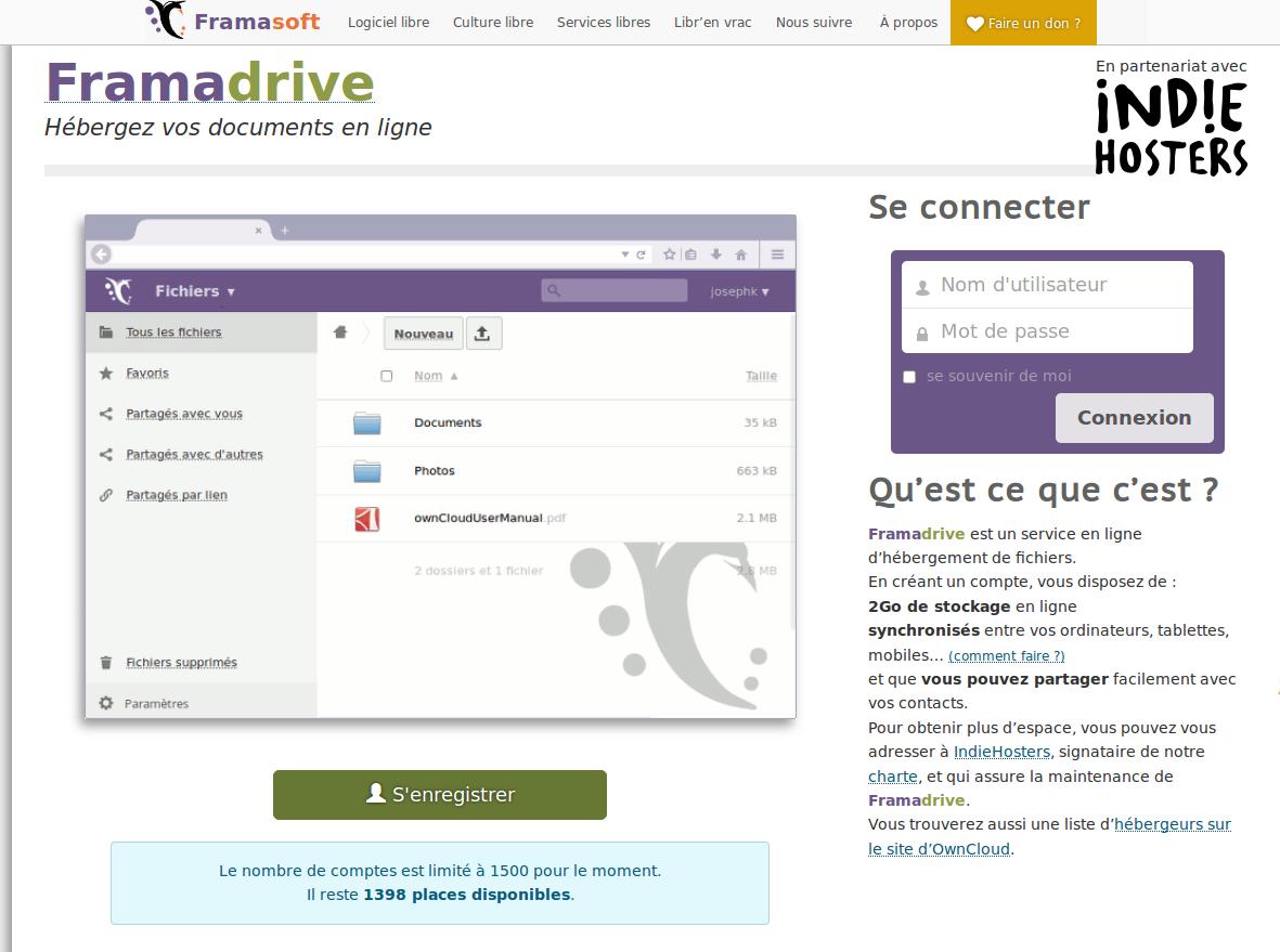 cliquez sur l'image pour aller vous ouvrir un compte sur Framadrive