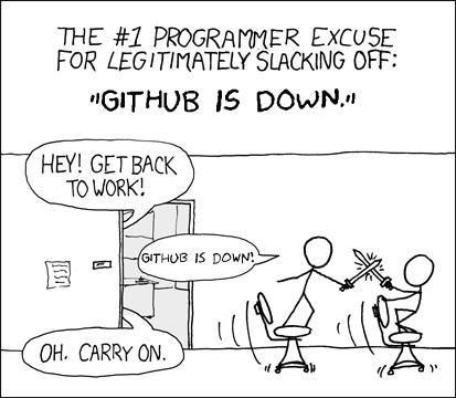 githubdown L'excuse n°1 des programmeurs pour se lâcher sans scrupules: « GitHub est en panne » — Hé, au boulot les gars ! — Github est en panne ! — Ah bon, continuez alors.