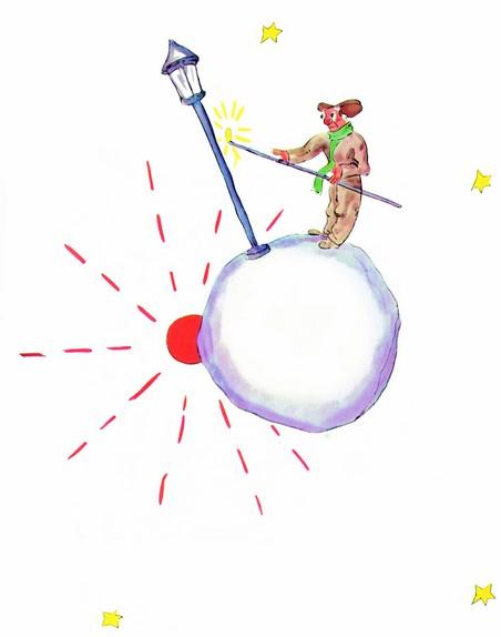 allumeur de réverbère dessin de saint exupéry pour le Petit Prince