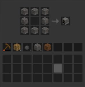 Créez un fourneau pour transformer les minerais en lingots.