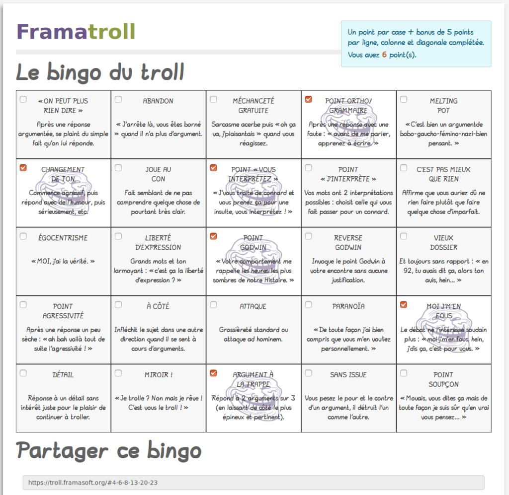 Nous n'avons par contre aucun chiffre sur votre chasse aux trolls grâce à Framatroll