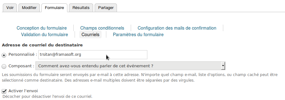 Ajout d'une adresse email pour recevoir un message à chaque participation.