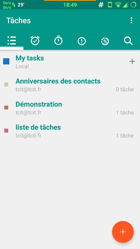 Listes de taches synchronisées avec Opentasks Extrait de la doc Framagenda