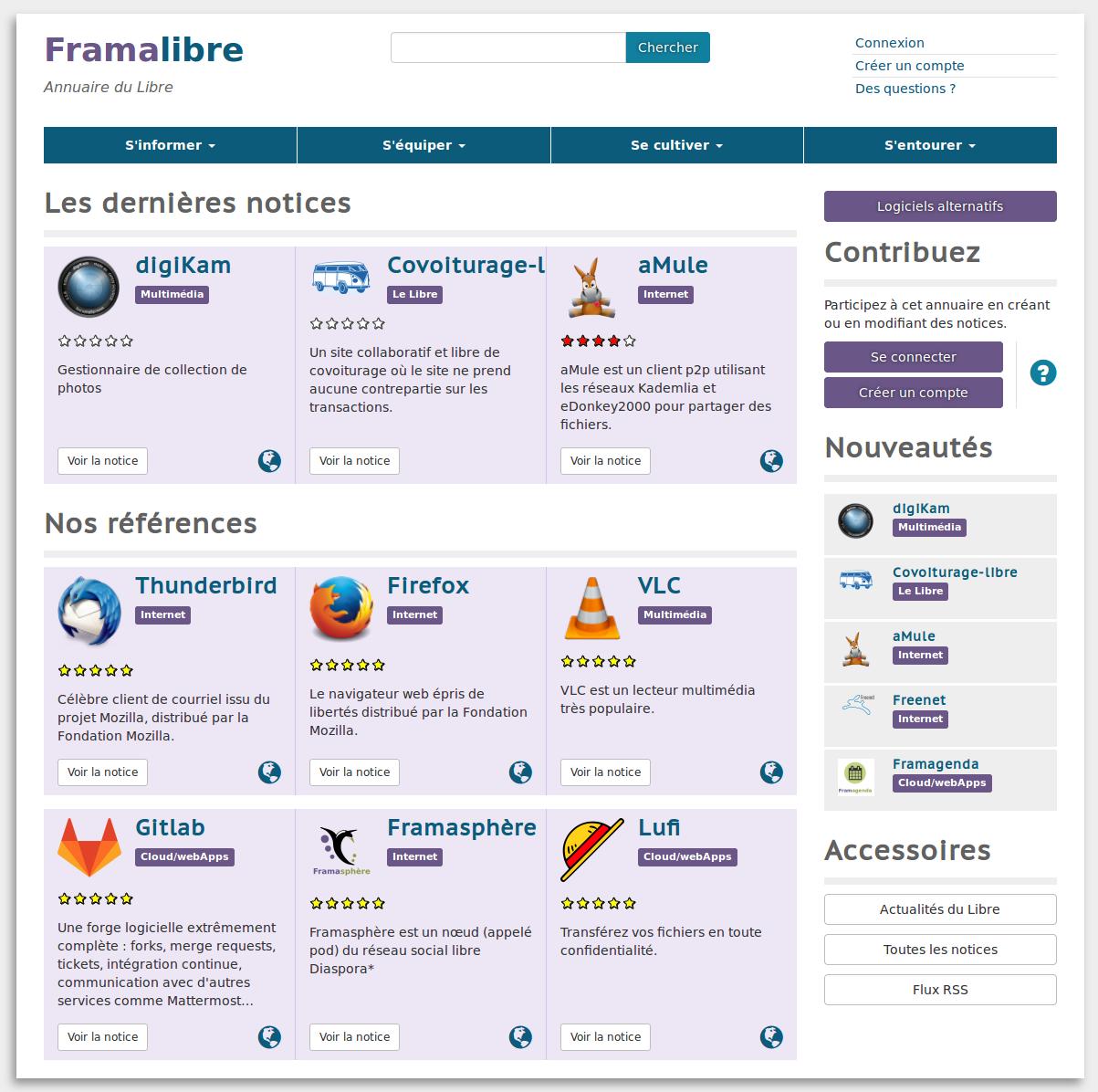page d'accueil de Framalibre