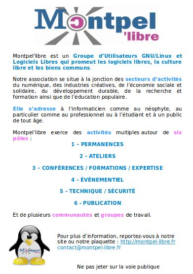 flyer qui résume les activités de l'association Montpel'libre