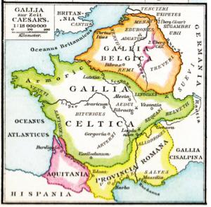 carte ancienne représentant les gaules à l'époque gallo-romaine : Gaules belge et celtique, province romaine et aquitaine.