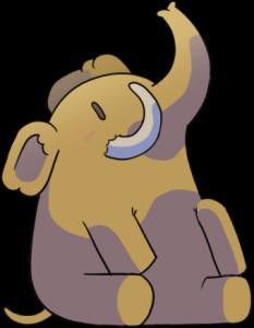 En graphisme BD, la mascotte de Mastodon : un éléphanteau assis sur son derrière, trompe vers le ciel.