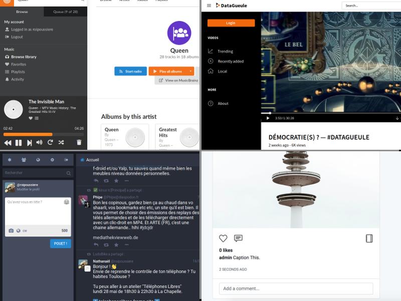 Alternatives aux médias sociaux basées sur ActivityPub. Respectivment : Funkwhale (musique fédérée), PeerTube (vidéos), Mastodon (micro-blogging) et PixelFed (images).