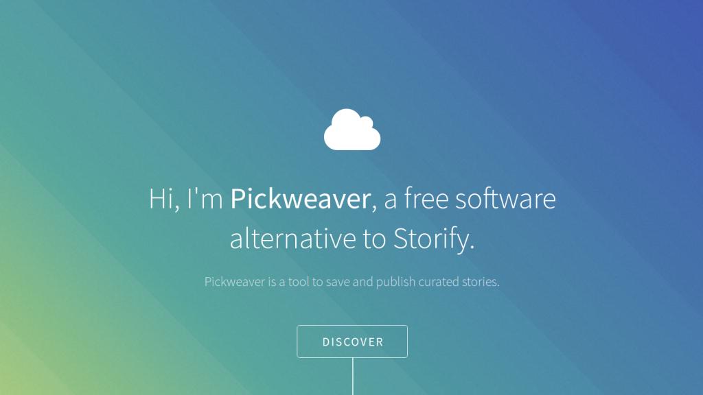Page d'accueil du logiciel PickWeaver
