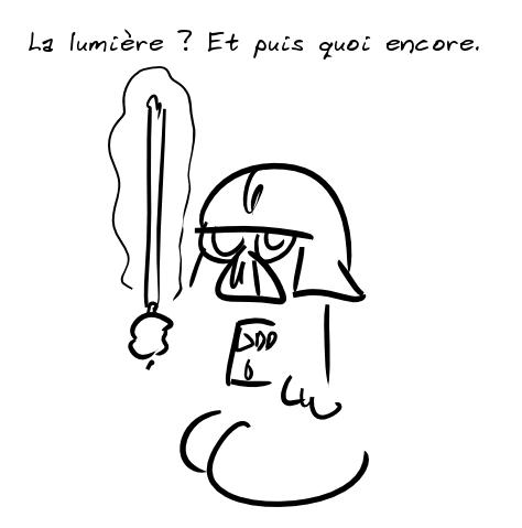 Darth Vader râle : la lumière, et puis quoi encore.