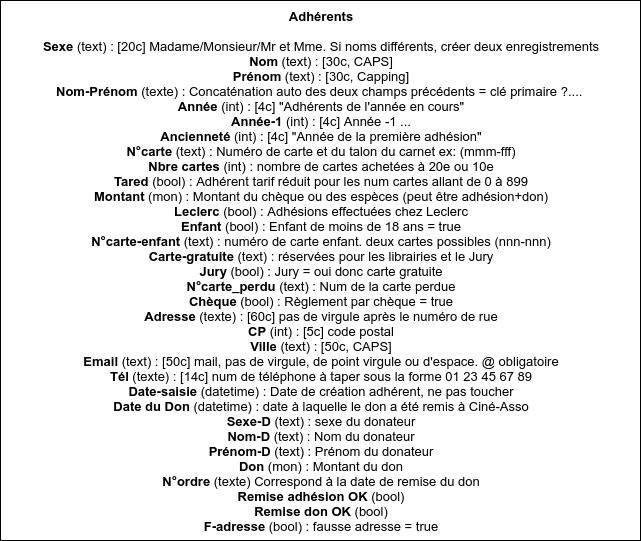 capture de la liste des entrées de la base de données ancienne