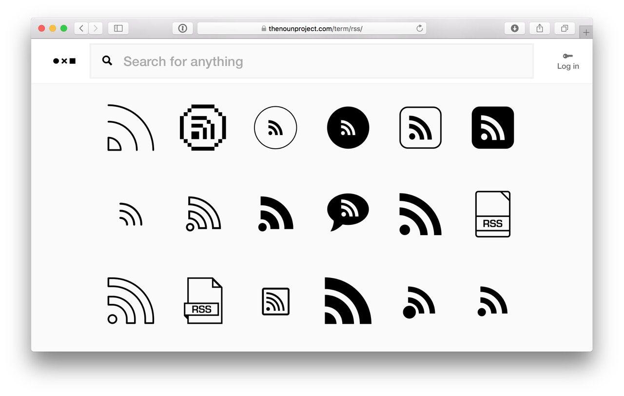 un tableau avec toutes sortes d'icônes pour les flux RSS