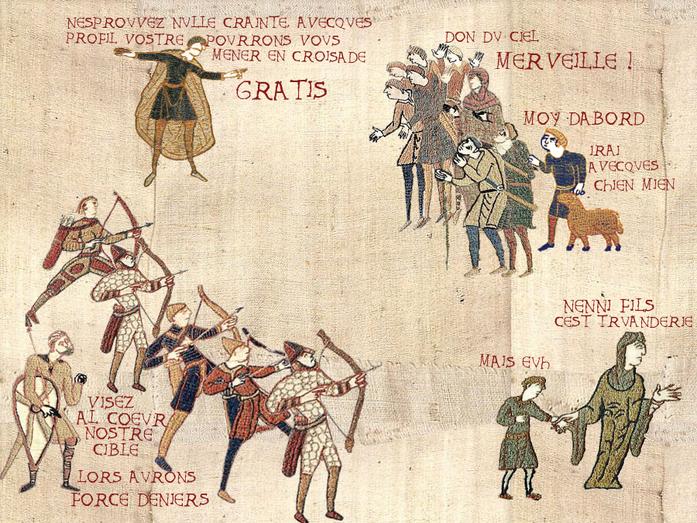 tableau pseudo médiéval : des archers ciblent les manants tandis qu'on leur fait croire qu'ils vont gagner un voyage gratuit aux croisades. Prototype de ciblage publicitaire.