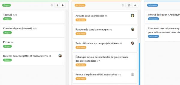 Capture d'écran de la gestion des tickets sur Framagit