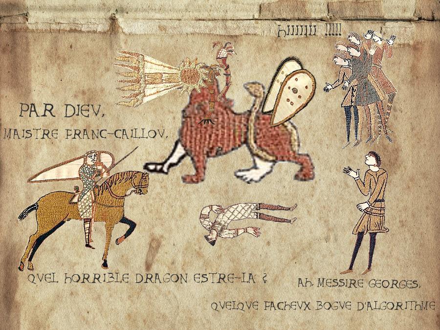 tableau pseudo médiéval : Saint-Georges demande à maistre Franc-Caillou quel est ce dragon horrible, l'autre répond que c'est un bogue d'algorithme
