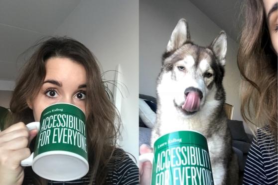 Laura boit à son mug et son chien Oskar se lèche les babines dans l'image suivante