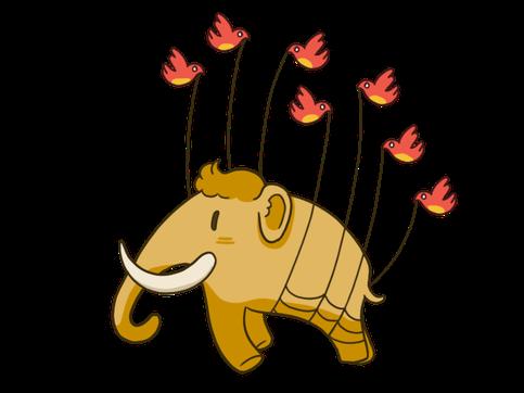 l'éléphant de Mastodon soutenu en l'air par de petits oiseaux
