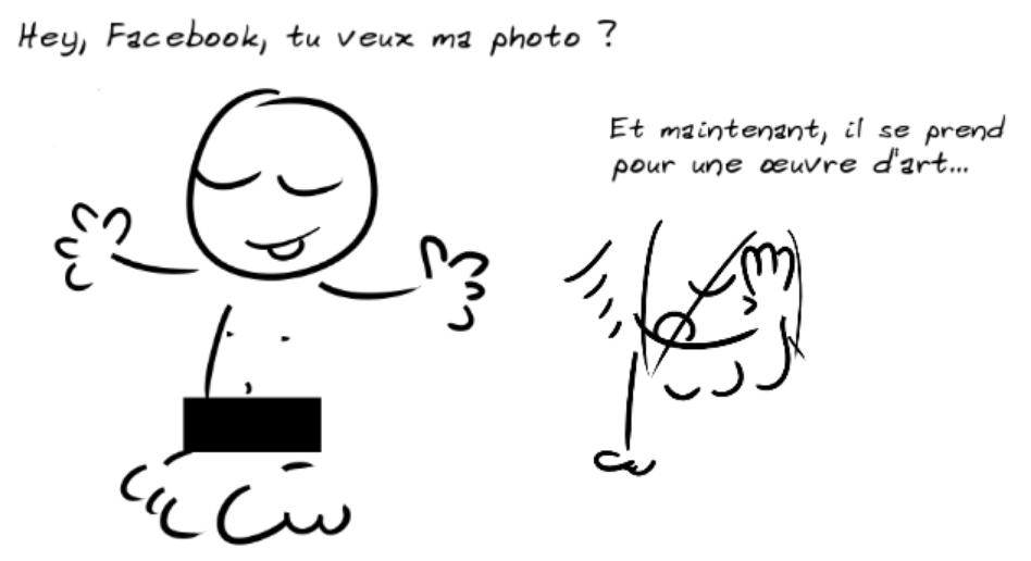 Un personnage à poil avec un rectangle noir en cache-sexe dit : hey, Facebook, tu veux ma photo ? Un autre, l'air navré, dit : et maintenant, il se prend pour une œuvre d'art