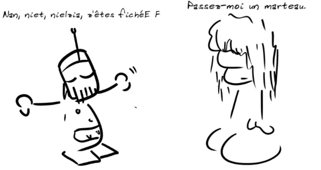 Un robot dit : nan, niet, nielzia, z'êtes fichéE F, le personnage (féminin) dit : passez-moi un marteau.