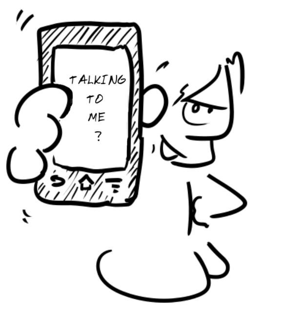 un personnage brandit un téléphone sur lequel est écrit : talking to me ?