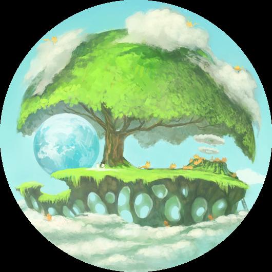 """planète """"arbre"""" au-dessus des nuages et qui abrite notre planète bleue. Quelques chatons figurent autour, certains descendent d'un volcan qui fume."""