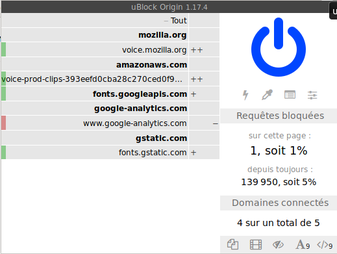 ublock origin et la page commonvoice