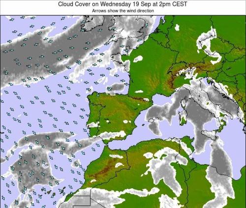carte météo de l'ouest de l'Europe avec symboles de passages nuageux