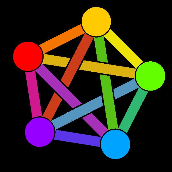 symbole coloré de la fédération, comme un hexagone dont chaque sommet est relié aux autres, en étoile.