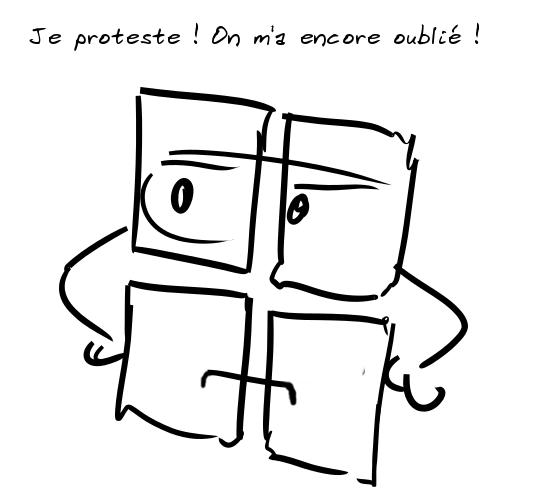 Le logo Mircrosoft râle : Je proteste ! On m'a encore oublié !