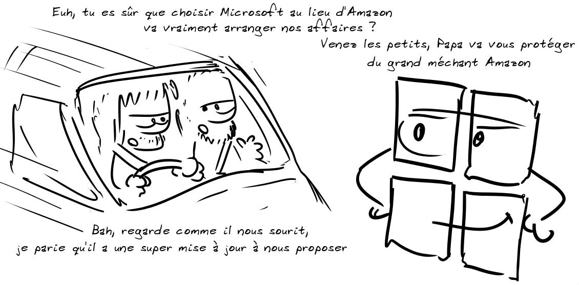 Deux personnages en voiture : euh, tu es sûr que choisir Microsoft au lieu d'Amazon va vraiment arranger nos affaires ? L'autres : bah, regarde comme il nous sourit, je parie qu'il a une super mise à jour à nous proposer ; le logo Microsoft : venez les petits, Papa va vous protéger du grand méchant Amazon