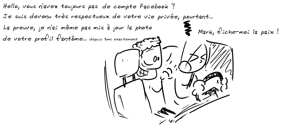 Mark Z : Hello, vous n'avez toujours pas de compte Facebook ? Je suis devenu très respectueux de votre vie privée, pourtant. La preuve, je n'ai même pas mis à jour la photo de votre profil fantôme... (en plus petit) Depuis 3 mn exactement. Un personnage au volant, fulminant : Mark, fiche-moi la paix !