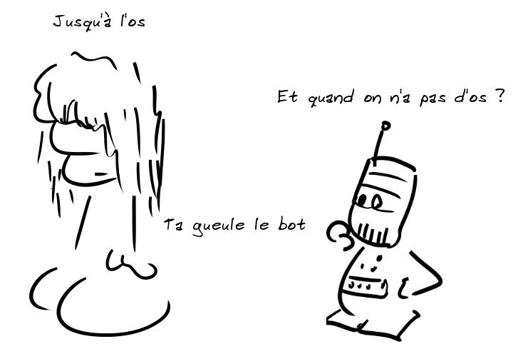Un personnage pas commode dit : jusqu'à l'os. Un robot demande : euh, et quand on n'a pas d'os ? L'autre : ta gueule le bot