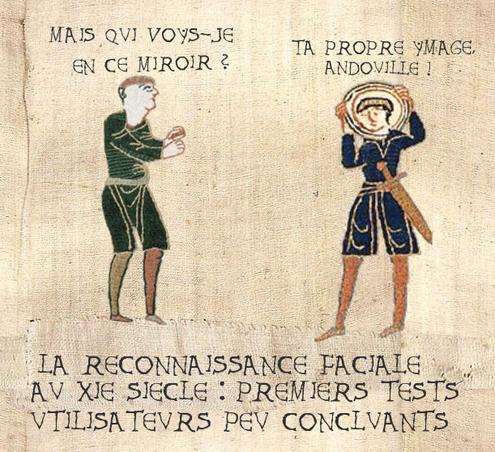 Une image type document du moyen-âge ; deux personnages : mais qui vois-je en ce miroir ? L'autre : ta propre image, andouille ! Légende : reconnaissance faciale au XIème siècle : premiers tests utilisateurs peu concluants