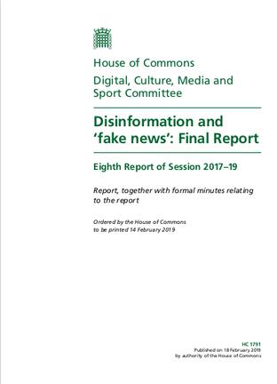Page de couverture du rapport des Commons britanniques sur la désinformation.