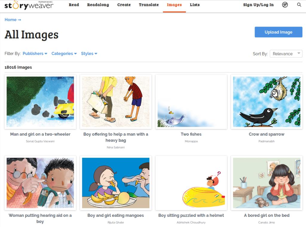 séries de vignettes affichant quelques-unes des images disponibles pour créer un récit