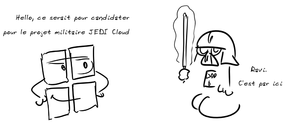 le logo Microsoft : Hello, ce serait pour candidater pour le projet militaire JEDI Cloud - Darth Vador : Ravi. C'est par ici