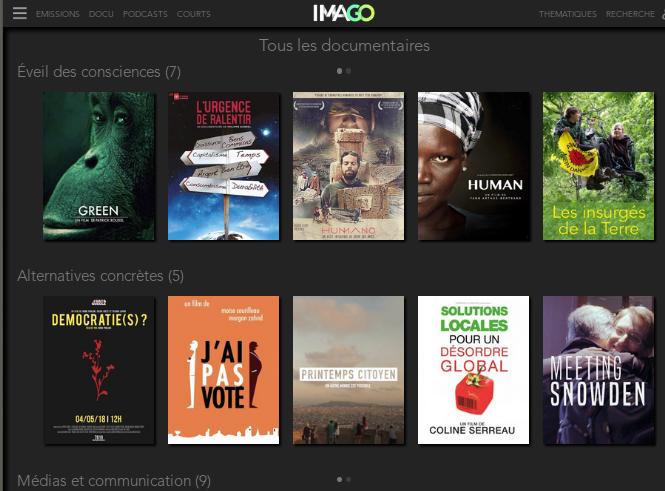 """Copie d'écran qui idique la diversité """"militante"""" des films disponibles proposés par la plateforme IMAGO"""