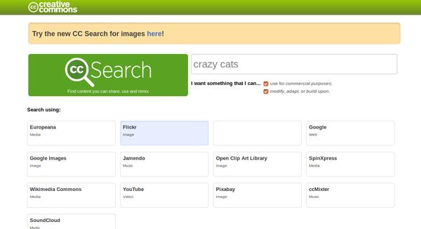 copie d'écran interface ancienne de la recherche de creative commons