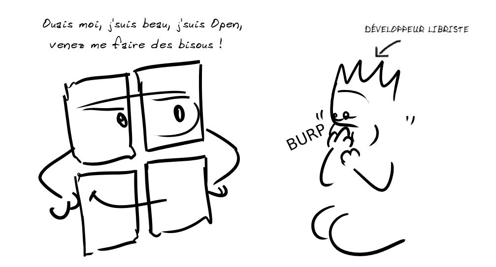 Le logo Microsoft : Ouais moi j'suis beau, j'suis Open, venez me faire des bisous ! En face, un personnage se retient de vomir ; une flèche indique DÉVELOPPEUR LIBRISTE