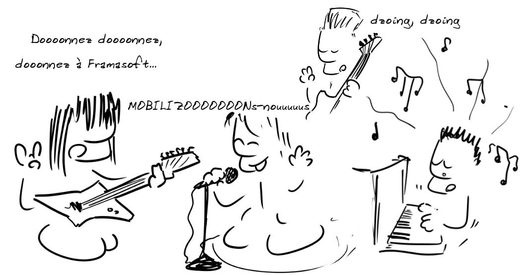 Des musiciens : dooonnnez dooooonnez, doooonnnez pour Framasoft... Mobilizooooonnnns-nous...